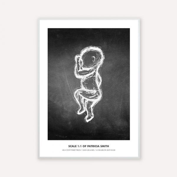 Birth poster in 1:1 scale with the illustration sketch in white color with black board back ground